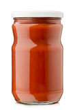Tomato sauce. Jar on white background Royalty Free Stock Photography
