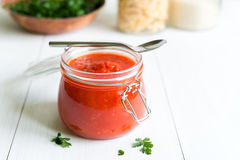 Tomato Sauce In Jar On White Wooden Table Royalty Free Stock Photos