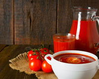 Tomato sauce and juice Stock Images
