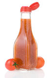 Tomato sauce and ketchup. On white background Royalty Free Stock Photo