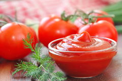 Tomato sauce ketchup with seasonings in a glass bowl Royalty Free Stock Images