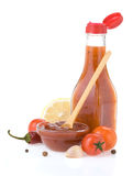 Tomato sauce and ketchup on white. Background royalty free stock photography