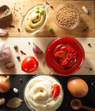 Tomato sauce, mayonnaise and mustard in bowl royalty free stock photo