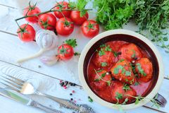 Tomato sauce with meat balls Royalty Free Stock Photography