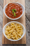 Tomato sauce and pasta Royalty Free Stock Photos