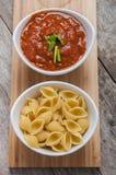 Tomato sauce and pasta royalty free stock photos