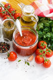Tomato sauce, pesto and ingredients for pasta, vertical Royalty Free Stock Images