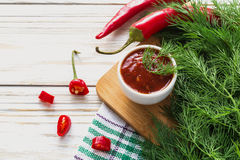 Tomato sauce salsa, hot chili, dill and basil,  on wooden backgr Royalty Free Stock Image