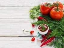 Tomato sauce salsa, hot chili, dill, tomatoes  and basil Stock Photography