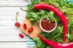 Tomato sauce salsa, hot chili, parsley and basil,  on wooden bac Stock Images