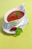 Tomato sauce in sauce boat Stock Photos