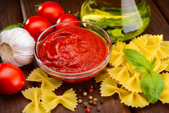 Tomato sauce in sauceboat Royalty Free Stock Photos