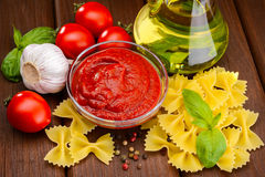 Tomato sauce in sauceboat Stock Image