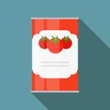 Tomato Sauce, Soup Can Template in Modern Flat Style Isolated on. White. Material for Design. Vector Illustration EPS10 Stock Image