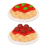 Tomato sauce spaghetti. Cartoon plates of spaghetti with vegetarian tomato sauce and meatballs. Classic pasta dish vector illustration vector illustration