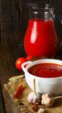 Tomato sauce and spices Royalty Free Stock Photos