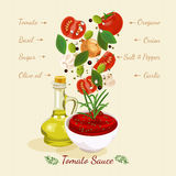 Tomato Sauce. Tomato juice. Tomato Sauce Ingredients Falling Down. Tomato juice vector illustration