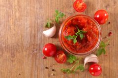 Tomato sauce. And ingredient, above Stock Photography