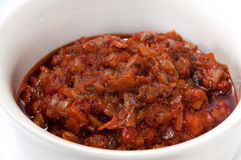 Tomato sauce in the white bowl Stock Photography