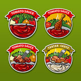 Tomato sauces stickers Royalty Free Stock Photography
