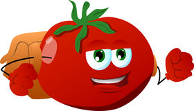 Tomato with school bag Stock Photos