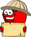 Tomato scout or explorer holding a blank old paper Stock Photo