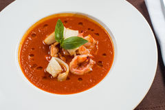 Tomato seafood soup Royalty Free Stock Photo