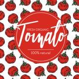 Tomato seamless pattern and emblem ripe organic vegetable farm food royalty free illustration