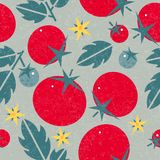 Tomato seamless pattern. Ripe tomatoes with leaves and flowers on shabby background. Original simple flat illustration. Shabby style vector illustration