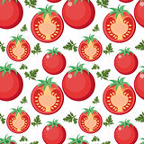Tomato seamless pattern. Tomatoes endless background, texture. Vegetable backdrop. Vector illustration. Stock Image