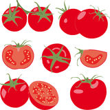 Tomato. Set tomatoes and slice. Isolated vegetable Stock Photos