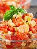 Tomato, shrimps and avocado salad Royalty Free Stock Photos