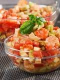 Tomato, shrimps and avocado salad Royalty Free Stock Photo