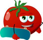 Tomato with skateboard Stock Image