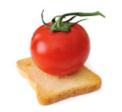 Tomato on slice of bread Royalty Free Stock Images