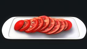 Tomato Slices. The tomato is the edible, red fruit of Solanum lycopersicum, commonly known as a tomato plant, which belongs to the nightshade family, Solanaceae royalty free stock image
