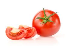 Tomato and Slices. Isolated on White Background Stock Image