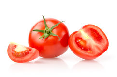 Tomato and Slices. Isolated on White Background Royalty Free Stock Photography