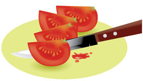 Tomato slices and knife Royalty Free Stock Photography