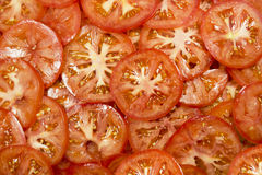 Tomato slices. Many slices of tomatoes background Royalty Free Stock Photos