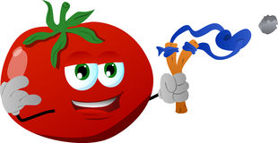 Tomato with a slingshot Stock Images