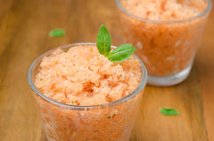 Tomato sorbet with basil in a glass Stock Photo