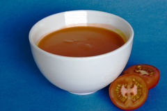 soup. Warm tomato soup in a ceramic bowl Royalty Free Stock Image