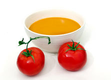 Tomato soup. Cooking recipe food vegetable white background Royalty Free Stock Photography