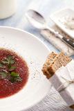 Tomato soup. Fresh tomato soup with wholemeal bread Stock Photography
