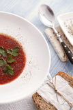 Tomato soup. And wholemeal bread Stock Photography