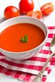 Tomato soup. On kitchen table Royalty Free Stock Photos