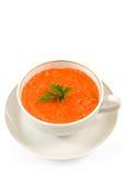 Tomato soup. White bowl of tomato soup on white background Royalty Free Stock Photography