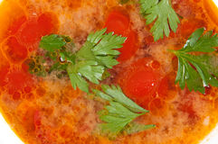 Tomato soup. Is a top view of the large Royalty Free Stock Photography