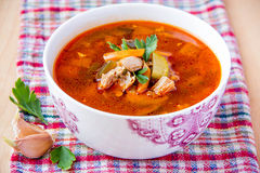 Tomato soup. With vegetables and meat Stock Photos